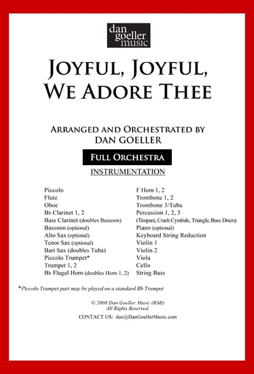 "Hymn Arrangement for Orchestra ""Joyful, Joyful, We Adore Thee"""