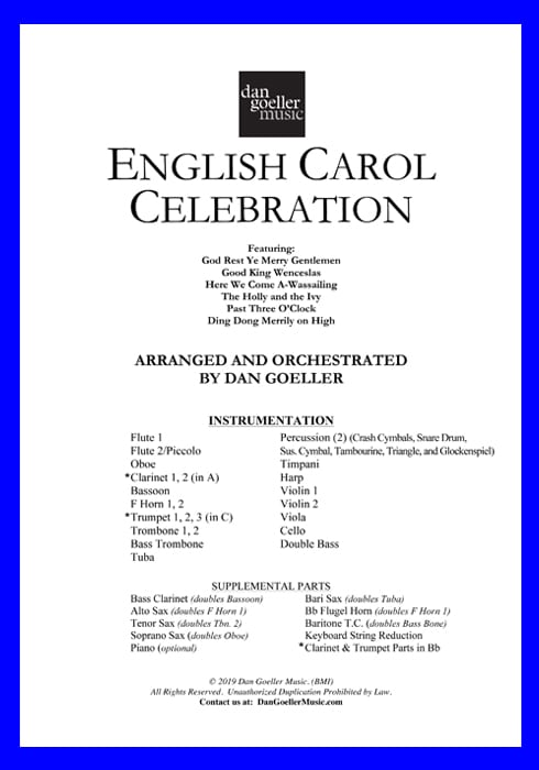 English Carol Celebration for Full Orchestra